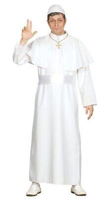 Herren Weiß Pope Kostüm Priester Religiös Outfit Vikar - Priester Kostüm Weiß