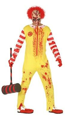 Adult Mens Zombie Ronald Costume Killer Clown Burger Halloween Fancy Dress Large