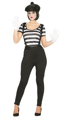 Adult Mime Artist Silent Movie Halloween Costume Circus Carnival Outfit ()