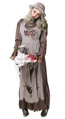 Womens Zombie Peasant Maid Victorian Costume Street Girl Halloween Ghost