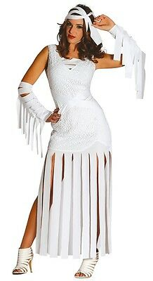 Damen Sexy Lang Ägyptisch Mumie Halloween Kostüm Kleid Outfit UK 10-16