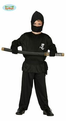 Boys Black Ninja Warrior Assassin Samurai Fancy Dress Costume Childrens - Black Ninja Boy Kostüm