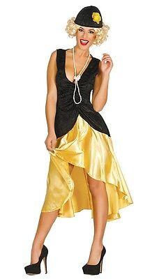 Damen 1920s Tänzer 20s Schwarz/Gold Flapper Kostüm Kleid - Tänzer Outfits Kostüme