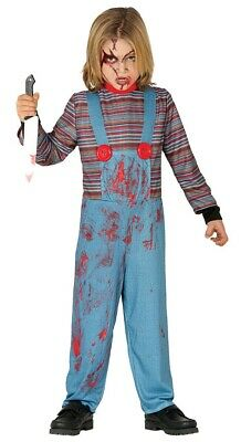 Boys Chucky Costume Childs Killer Doll Halloween Fancy Dress Childrens Outfit