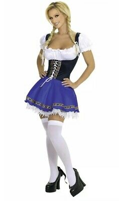 Serving Wench Halloween Costume (Roma Costume Women German Swiss Serving Wench, Blue, Medium/Large)