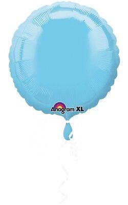 Lot of 10 Light Blue Round Mylar Non Latex Balloons.   - Non Latex Balloons