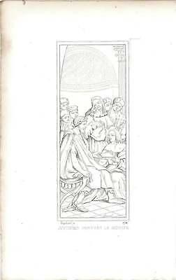 1828 Justinian giving the abridgment Raphael Vatican Miniature Drawing