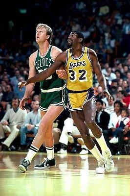 "Larry Bird VS Magic Johnson Basketball Star Fabric poster 20"" x 13"" Decor 19"