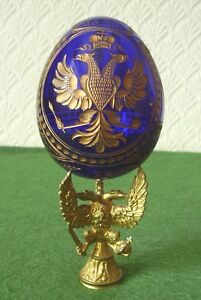 FABERGE-EGG-RUSSIAN-BLUE-GLASS-MOCHBA-MOSCOW-ENGRAVED-GILT-DECORATION-SUPERB
