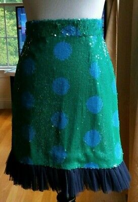 House of Holland Green Sequin Surreal Polka Dot Skirt Size 4 NWOT