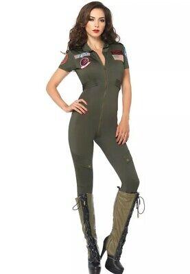 Leg Avenue womens Khaki Top gun flight suit costume Size Large