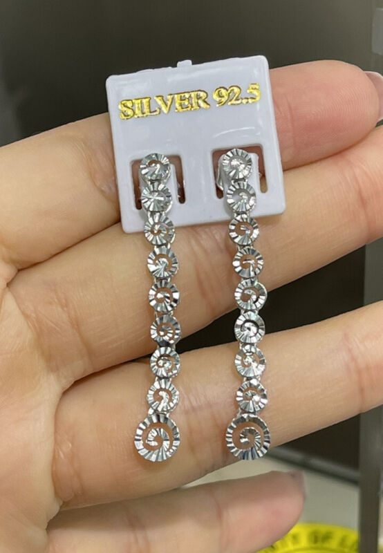Pure 0.925 Silver Shiny Diamond Cut Dangle Stud Earrings. 2.73 Grams