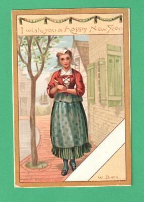 ANTIQUE NEW YEAR SIGNED GREETING CARD WITH CORRESPONDING POEM DUTCH MAIDEN BOOK