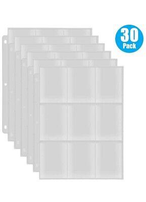 Baseball Card Sleeve for 3 Ring Binder,9-Pocket Trading Card Sleeves. - 30pack