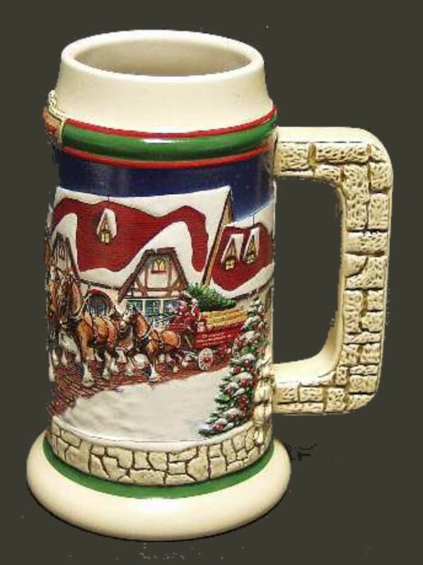 1998 Budweiser Holiday Beer Stein, Grants Farm CS343, Clydesdales Ceramarte