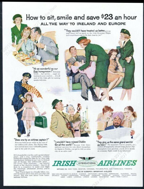 1960 Aer Lingus Irish Airlines stewardess color art vintage print ad