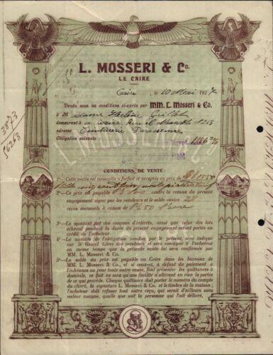 Bank L Mosseri Cairo  Egypt 1917 - Vign. Sphinx, Pyramids - iss Helene Guillet
