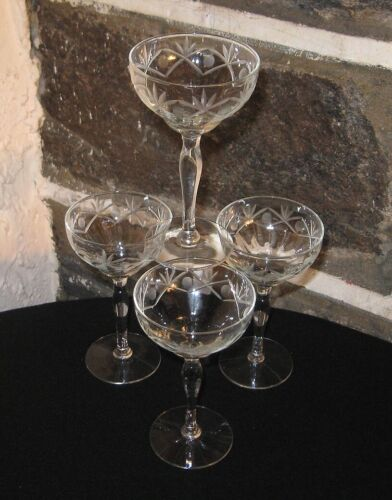 Crystal cordials cut fans and dots lot of 4 Hold 3 oz Very Pretty lot free ship
