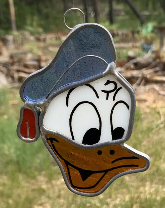Walt Disney Productions Stained Glass Donal Duck Ornament Sun Catcher