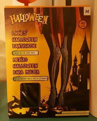 Halloween Ladies' Pantyhose with Glow/Dark Skeleton - Size Medium- Made in Italy](Skeleton Pantyhose)