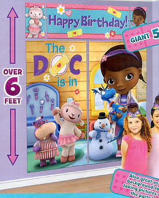 DOC MCSTUFFINS Scene Setter HAPPY BIRTHDAY party wall decoration kit 6' Disney
