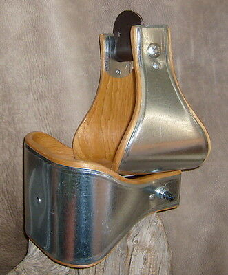 "New Wide USA Made 5"" Metal Bound Bell Stirrups For Western Saddle. G&E"