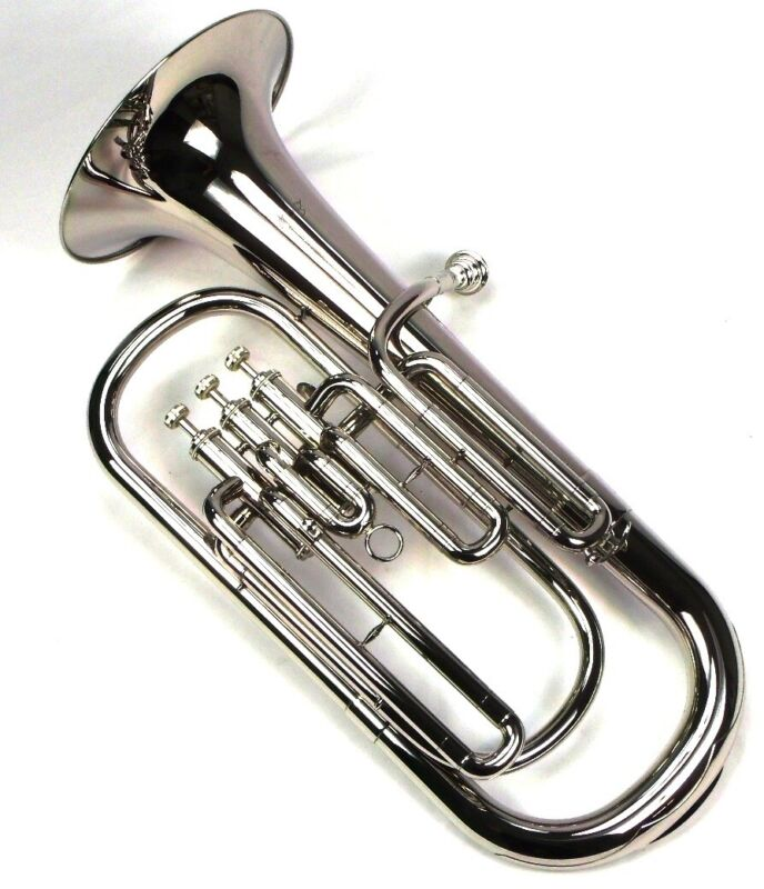Bb Baritone Horn with Case and Mouthpiece, Nickel Plated Finish