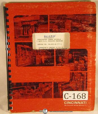 Cincinnati S-130-0 Horizontal Milling Machine Operators Manual 1967
