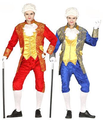 Herren Versailles Kostüm Georgianisches Rot oder Blau Outfit 96.5-117cm Neu