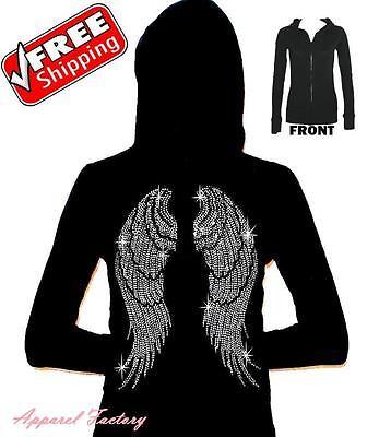 New Rhinestone ANGEL WINGS Black Junior's Zipper Hoodie XS-3XL faith love sexy