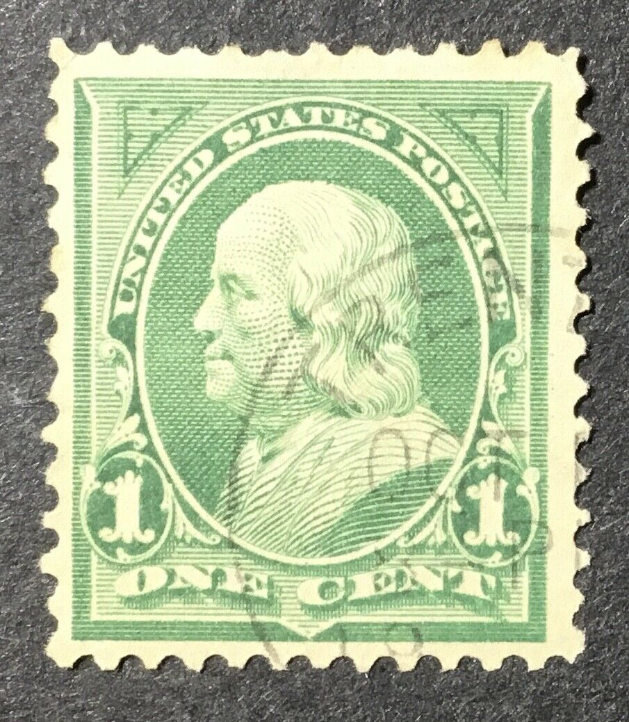 US Scott 279 Franklin 1 Cent Deep Green Used AC0899 - $0.99