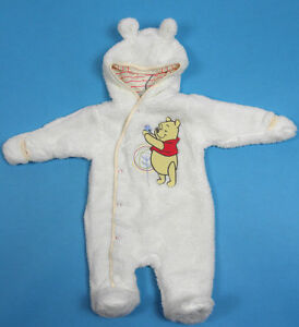 Disney Winnie The Pooh Baby Girl Cream Fluffy Hooded Snowsuit Age 6 Months 80cm