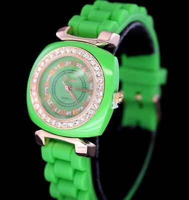Womens Green & Rose Gold Tone Cz Bezel Lady Geneva Sporty Quartz Watch