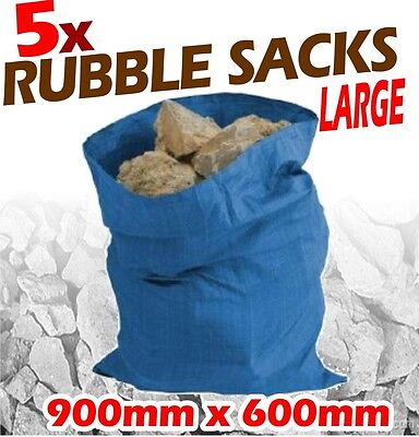 Heavy Duty Rubble Sacks 5 Pack 900 x 600mm Contractors Bags Large Bin Rubbish