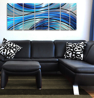 Metal Wall Art Modern Abstract Painting Sculpture Home Decor Blue Large Big Work