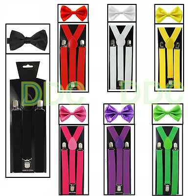 SUSPENDERS and BOW TIE COMBO SET-Tuxedo Classic Wedding Costume Tux Prom Party](Tie And Suspenders)