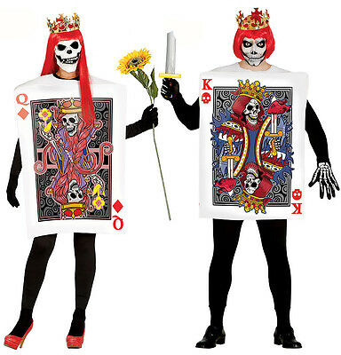 Mens Ladies Playing Card Costume Halloween Zombie King Queen Couples Fancy Dress