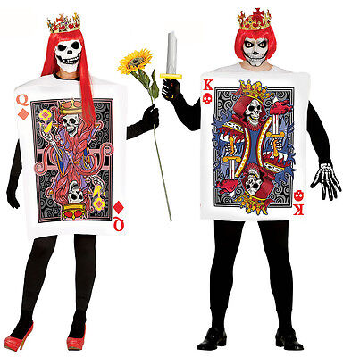 Herren Damen Spielkarte Kostüm Halloween Zombie König Queen - Queen Karte Kostüm