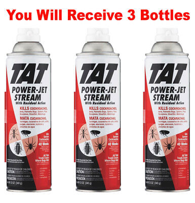 (3x TAT Roach Ant Insect Killer Power Jet Stream Pest Spray Inscesticide 12oz)