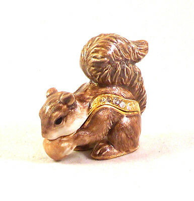 Playful Squirrels - Playful Squirrel Pewter Bejeweled Hinged Miniature Trinket Box Kingspoint