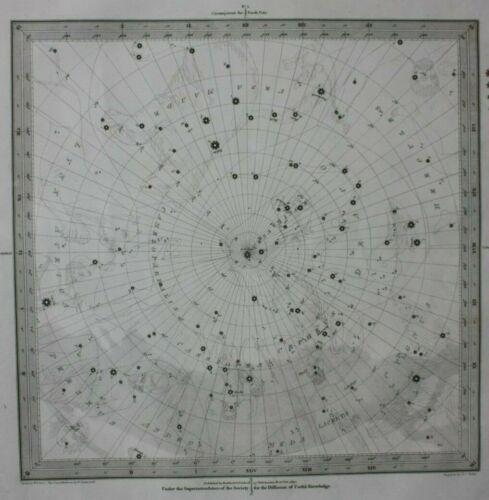 Original antique CELESTIAL MAP, S. HEMISPHERE, STARS, CONSTELLATIONS, SDUK, 1844