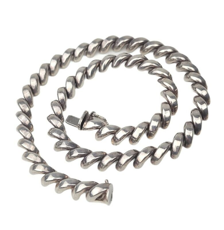 """Vintage 925 STERLING 15.5"""" Italy SAN MARCO Choker Necklace"""