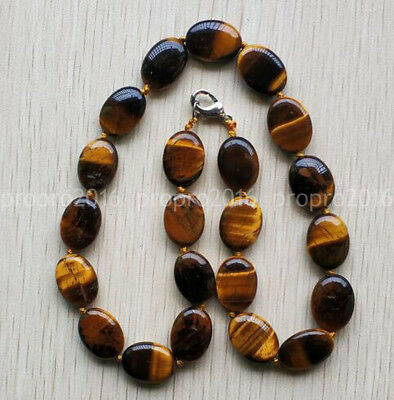 13x18mm natural tigers eye stone oval shape beads necklace 18