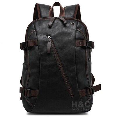 Mens Vintage Backpack School Bag Travel Satchel Pu Leather Book Bag Rucksack