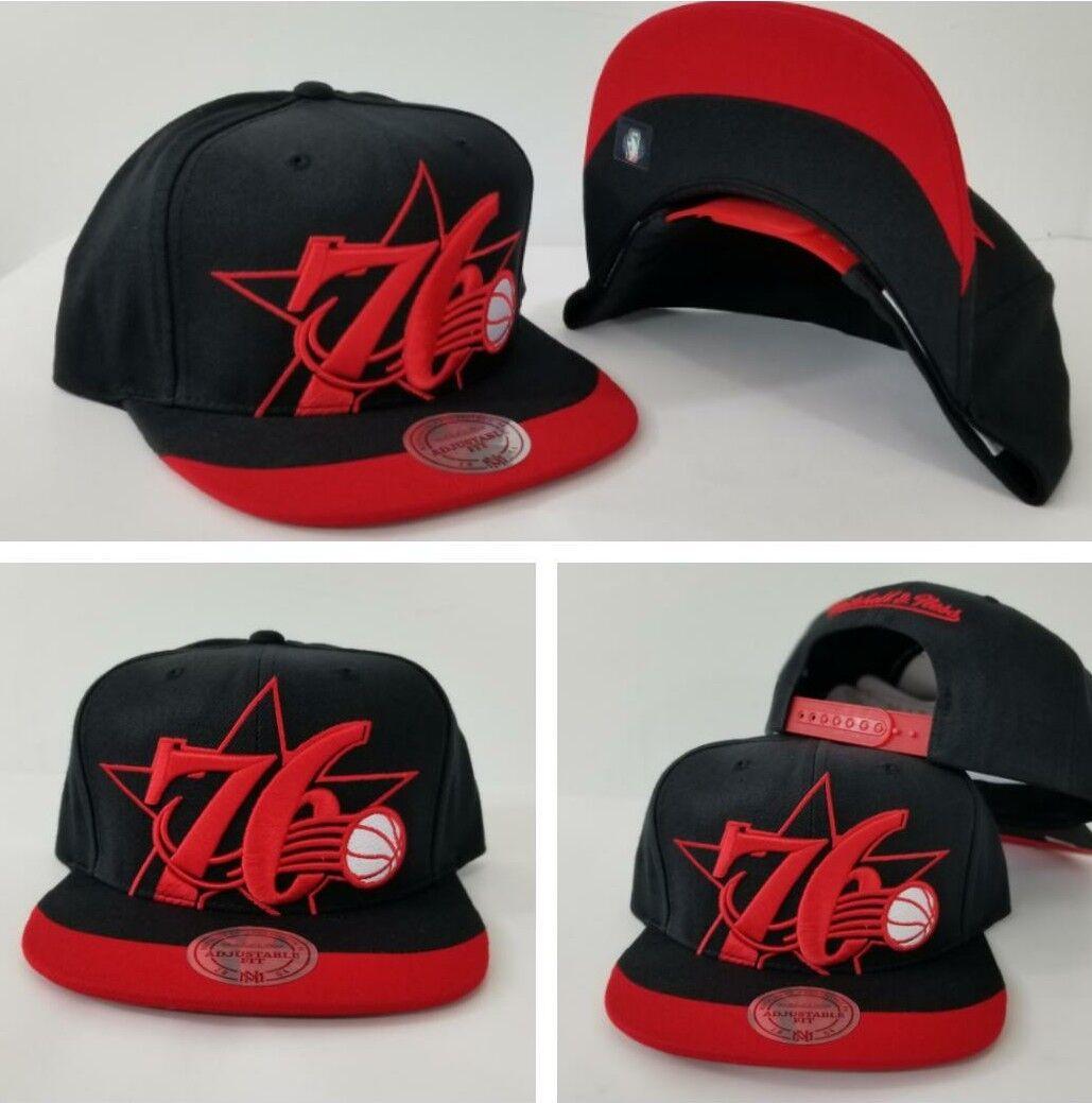 Mitchell   Ness Philadelphia 76ers Black   Red Dip Visor snapback Hat Cap 3f4930d65a8b