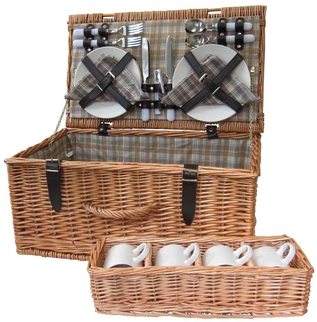 Wicker Picnic Basket Hamper 4 Person Set Camping Beach Travel Gift Bbq Caravan Ebay