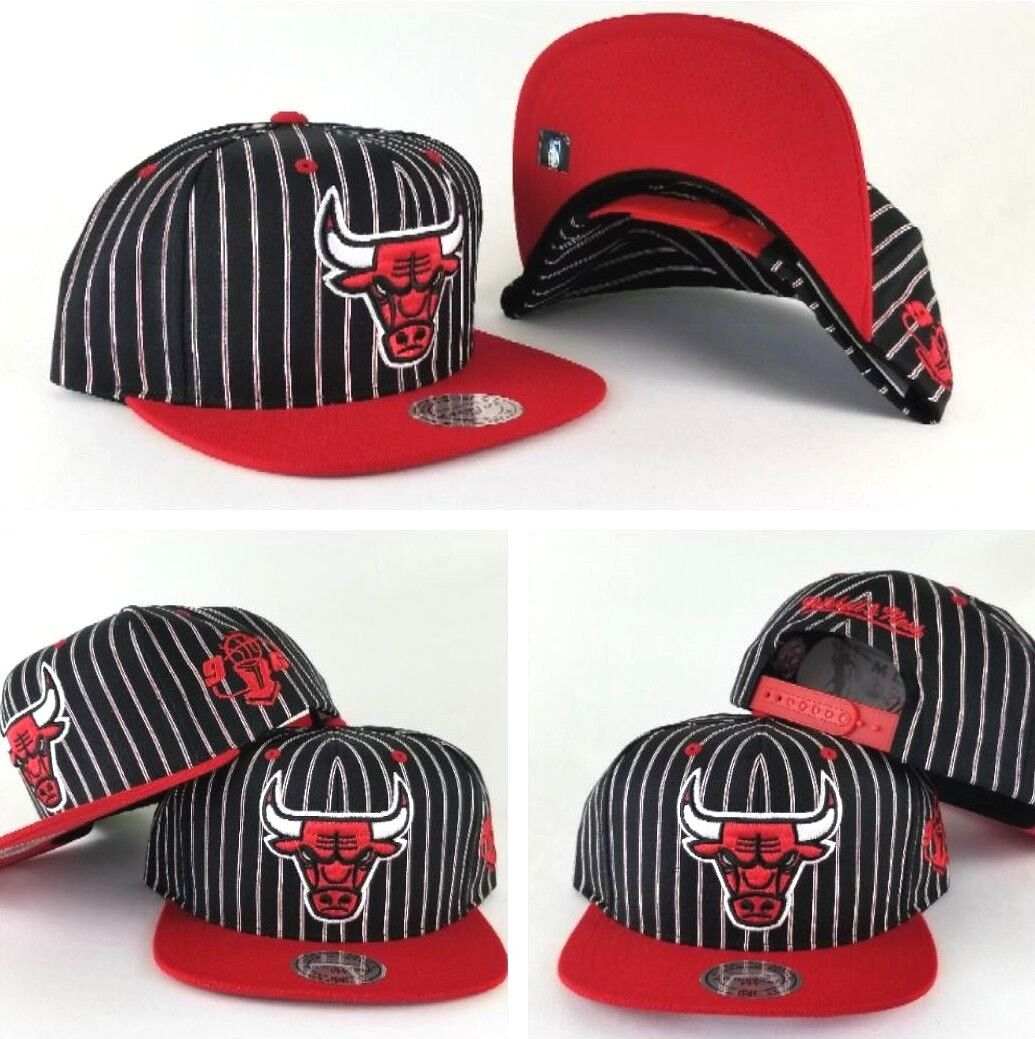 d51707eff97 Mitchell   Ness NBA Chicago Bulls Black   Red pinstripe snapback Hat Cap.  Exclusive Fitted Ebay Store