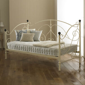 New Milano Metal Day Bed Cream With Wooden Sprung Slats Base Cheapest On eBay!!