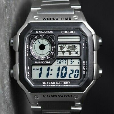 Casio Royale World Time Stainless Steel Men's Digital Watch AE-1200WHD-1AVEF UK