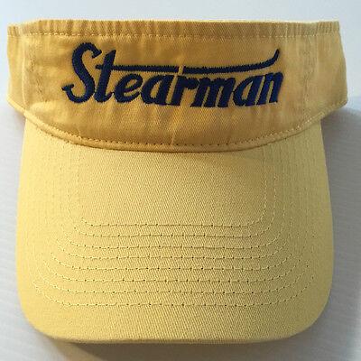 STEARMAN Sun Visor Yellow with Navy logo  FREE SHIPPING